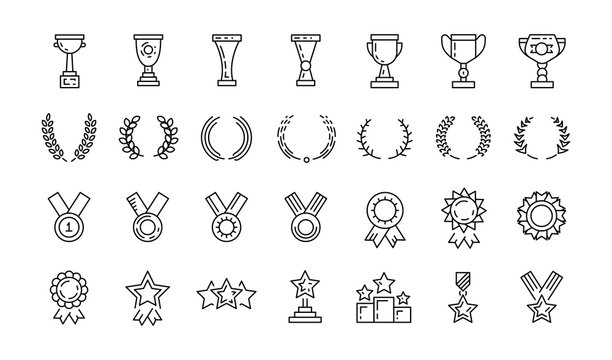 Awards line art icons set of winner