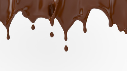A splash of chocolate. 3d rendering, 3d illustration.