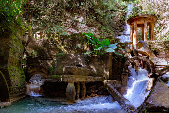waterfall in magical garden