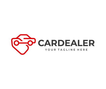 Automobile buying service logo design. Car dealership vector design. Automotive silhouette with price tag logotype