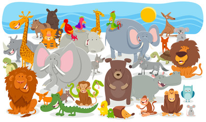 Fototapete - cartoon animal characters group background