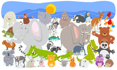 Fototapete - cartoon animal characters crowd background