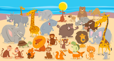 Fototapete - cartoon animal characters collection background