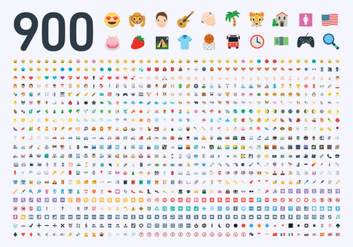 All type of emojis, emoticons, stickers flat illustration symbols. Hands, man, woman, workers, fruits, drinks, food, buildings, animals, activity, sport smileys icons set, collection, package - Vector
