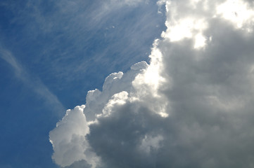 developing storm cloud on sunny blue sky