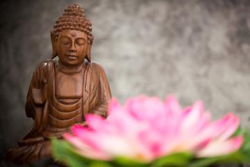 Recess Fitting Buddha a view of a wood buddha statue