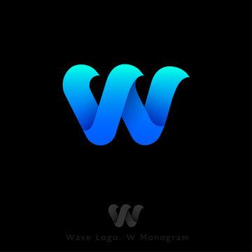 W logo Consist of  Three Waves. W Origami Monogram. Symbol of Sea and Waves. Network, Web Icon. Ui Design.