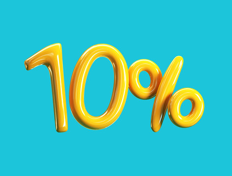 10% Off Price. Yellow Balloons Sale Concept. 3d rendering illustration
