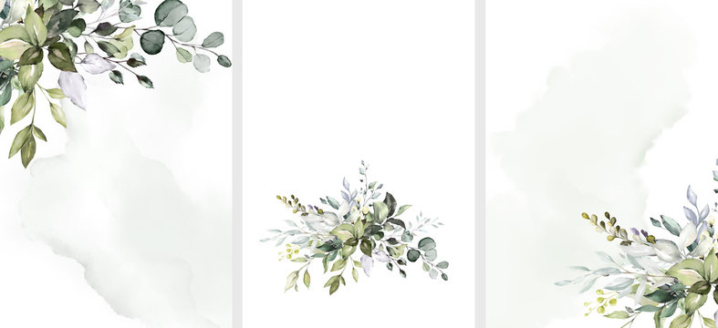 Ready to use Card. Herbal Watercolor invitation design with leaves. flower and watercolor background. floral elements, botanic watercolor illustration. Template for wedding.   frame