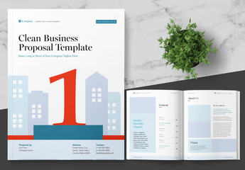 Business Proposal Layout with Blue and Red Accents