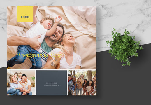 Square Photography Album Layout with Dark Green and Yellow Accents