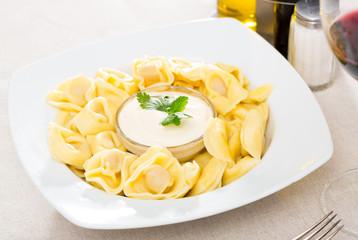 Ravioli with creamy sauce