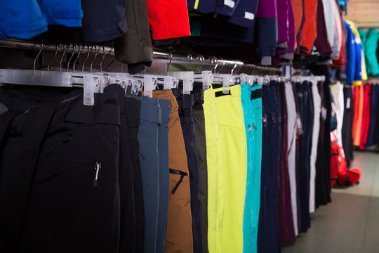 assortment of ski clothes  in sports  store