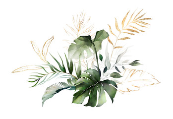 watercolor and gold leaves. herbal illustration. Botanic tropic composition.  Exotic modern design Wall mural