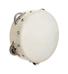 Classic tambourine made of wood and hide