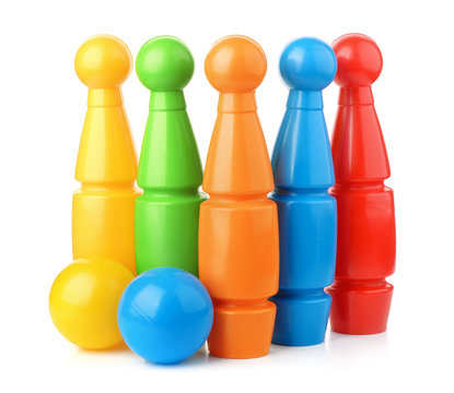 Toy plastic bowling pins and balls set