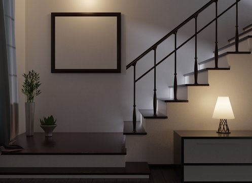 Night home interior with an empty frame. Lamp on a table and stairs to the second floor. 3D rendering.