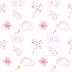 Watercolor illustration for children's design for girls. Cute pink pictures. Children's textile seamless pattern.