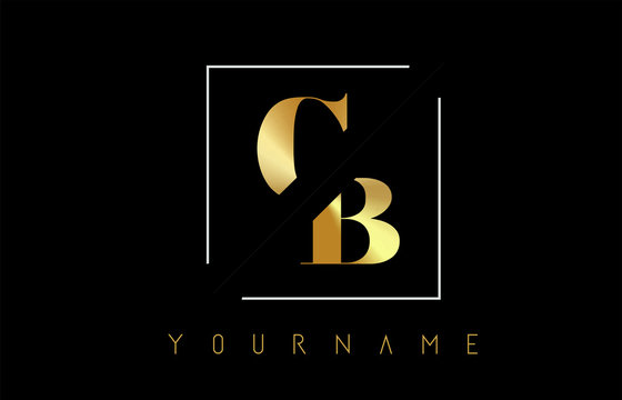 CB Golden Letter Logo with Cutted and Intersected Design