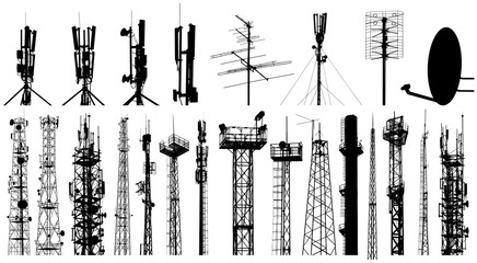 Tower radio antenna silhouettes set. Isolated on white background