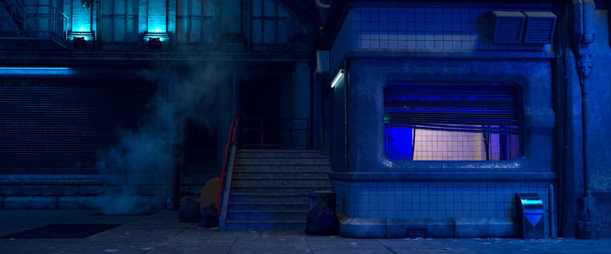3d illustration of an old building on a street of futuristic city. Beautiful night scene with neon lights in cyberpunk style. Gloomy urban landscape.