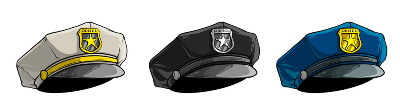 Cartoon colorful police peaked cap with golden badge and star. Isolated on white background. Vector icon set.