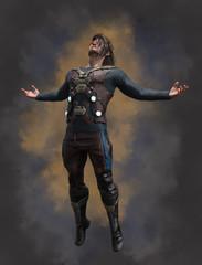 Sci-Fi man with his arms spread, zero gravity.
