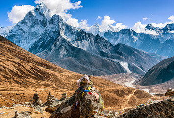 Scenic valley in Himalayan mountains on the trek to Dingboche, Nepal.