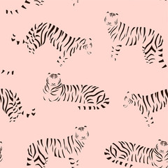 Abstract tiger pattern. Vector seamless texture. Trendy Illustration.