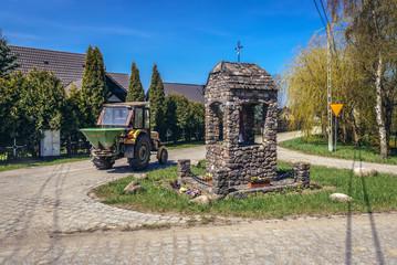 Small chapel in Lacko village within Slawno County near Baltic Sea coast in Poland