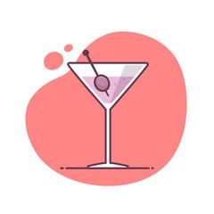 Martini cocktail vector icon illustration in monoline / line art style