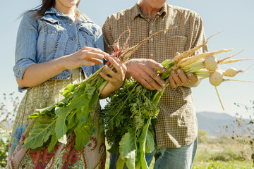 Midsection of father and daughter farmers holding vegetables
