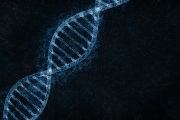 Artistic blue colored glowy double helix dna molecule copy space background. 3d illustration.