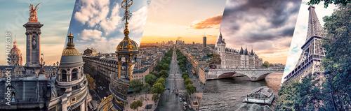 Fototapete Paris famous landmarks collage