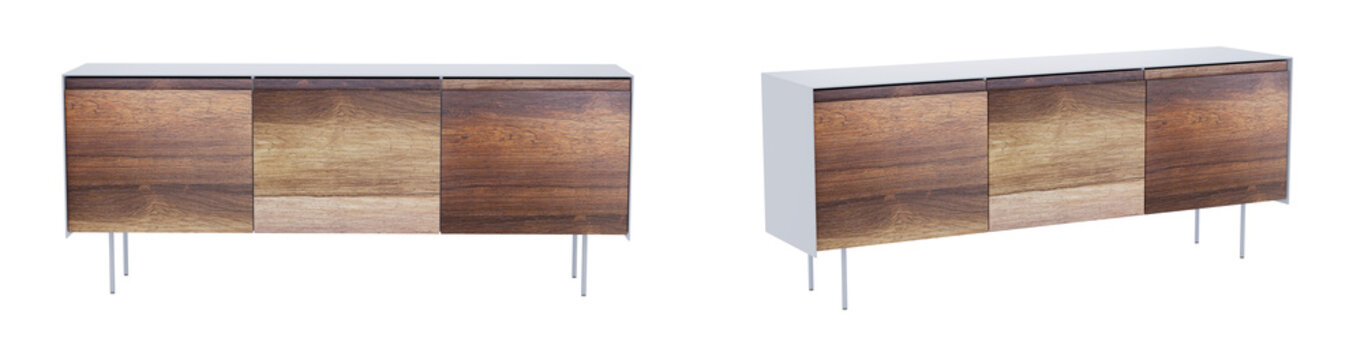 Vintage sideboard isolated on white background with clipping path included. 3D render image.