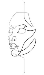 Door stickers One Line Art Female Face Single Continuous Line Vector Illustration