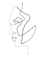 Photo on textile frame One Line Art Female Face Single Continuous Line Vector Illustration