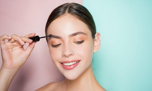 Beautiful thick eyebrows, a vivid glance. Perfect eyebrows, make-up correction.