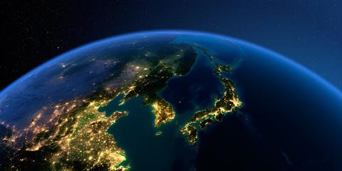 Detailed Earth. Korea and Japan