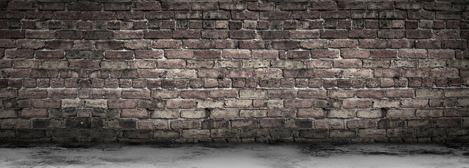 Photo sur Aluminium Brick wall Large Grungy Blank Old Brick Wall And Concrete Floor Banner with Copy Space