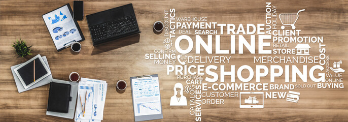 Online shopping and Internet Money Payment Transaction Technology. Modern graphic interface showing e-commerce retail store for customer to purchase product on the website and pay by online transfer.