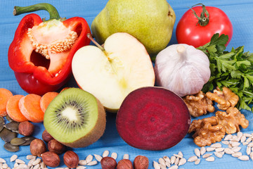 Fresh fruits and vegetables containing vitamins and minerals. Best food for gout and kidneys health