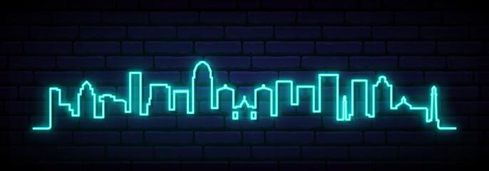 Blue neon skyline of Louisville city. Bright Louisville long banner. Vector illustration.