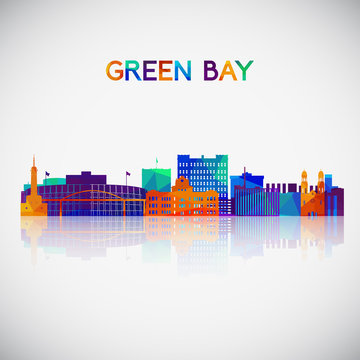 Green Bay skyline silhouette in colorful geometric style. Symbol for your design. Vector illustration.