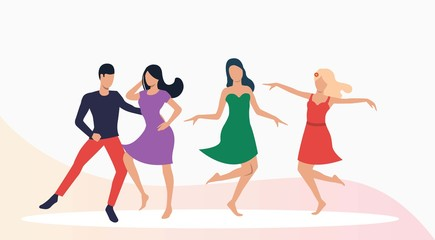 Salsa dancers performance. Leisure, fun, performance concept. Vector illustration can be used for topics like entertainment, nightlife, salsa party