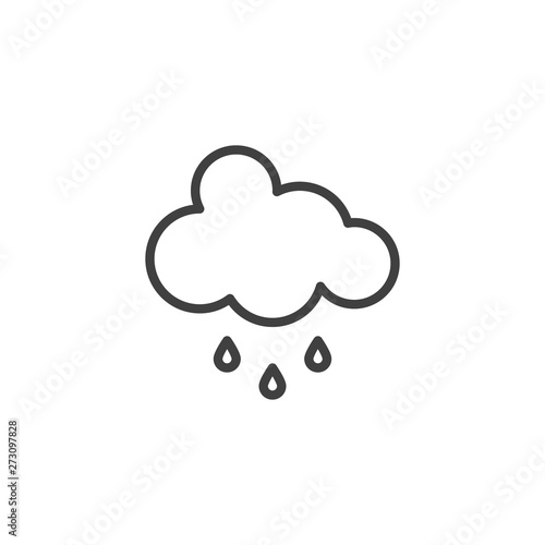 Cloud and rain drops line icon  linear style sign for mobile