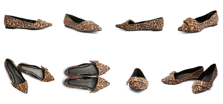 Set of female shoes with stylish print on white background