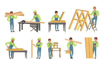 Professional Carpenters Characters Set, Men in Uniform Cutting Wooden Planks with Saw and Building Wooden Constructions Vector Illustration