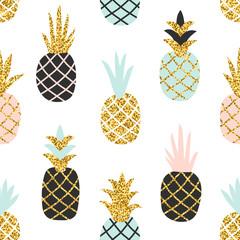 Modèle sans couture créatif d& 39 ananas avec texture de paillettes d& 39 or. Fond élégant scandinave. Illustration vectorielle avec ananas mignon dessinés à la main. Imprimé tendance