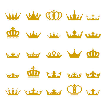 Crown icon set heraldic symbol vector illustration.